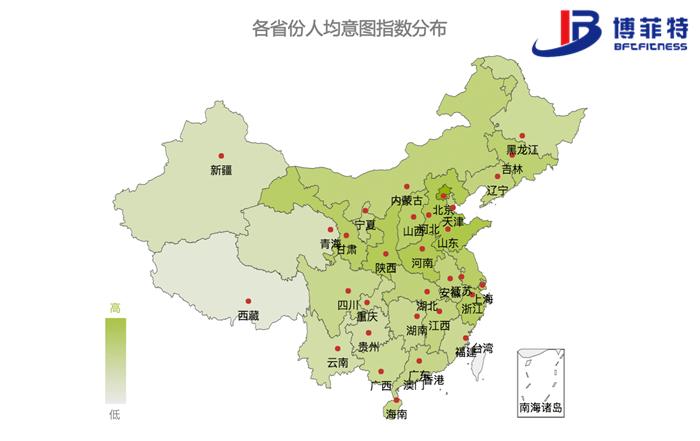 而从区域地理方位看,华中网民相对更热爱跑步,华北,东北更爱现代健身.